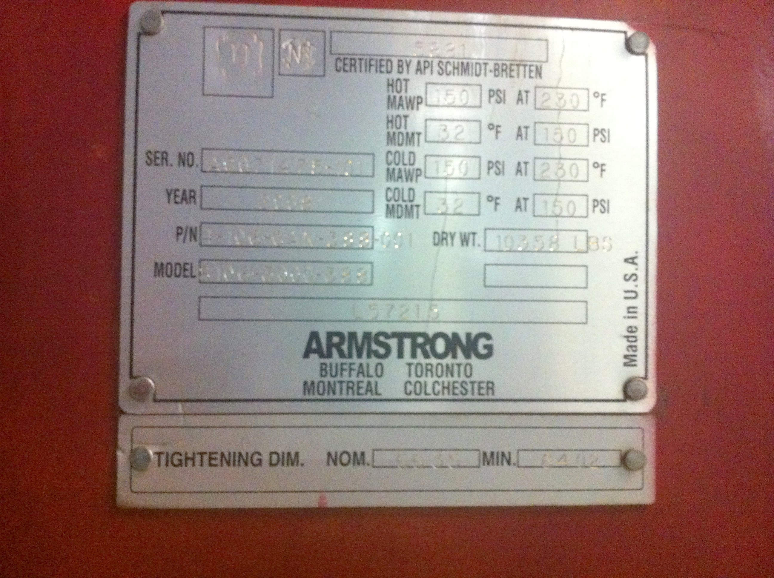 4611 Sq Ft Armstrong Stainless Steel Plate Heat Exchanger