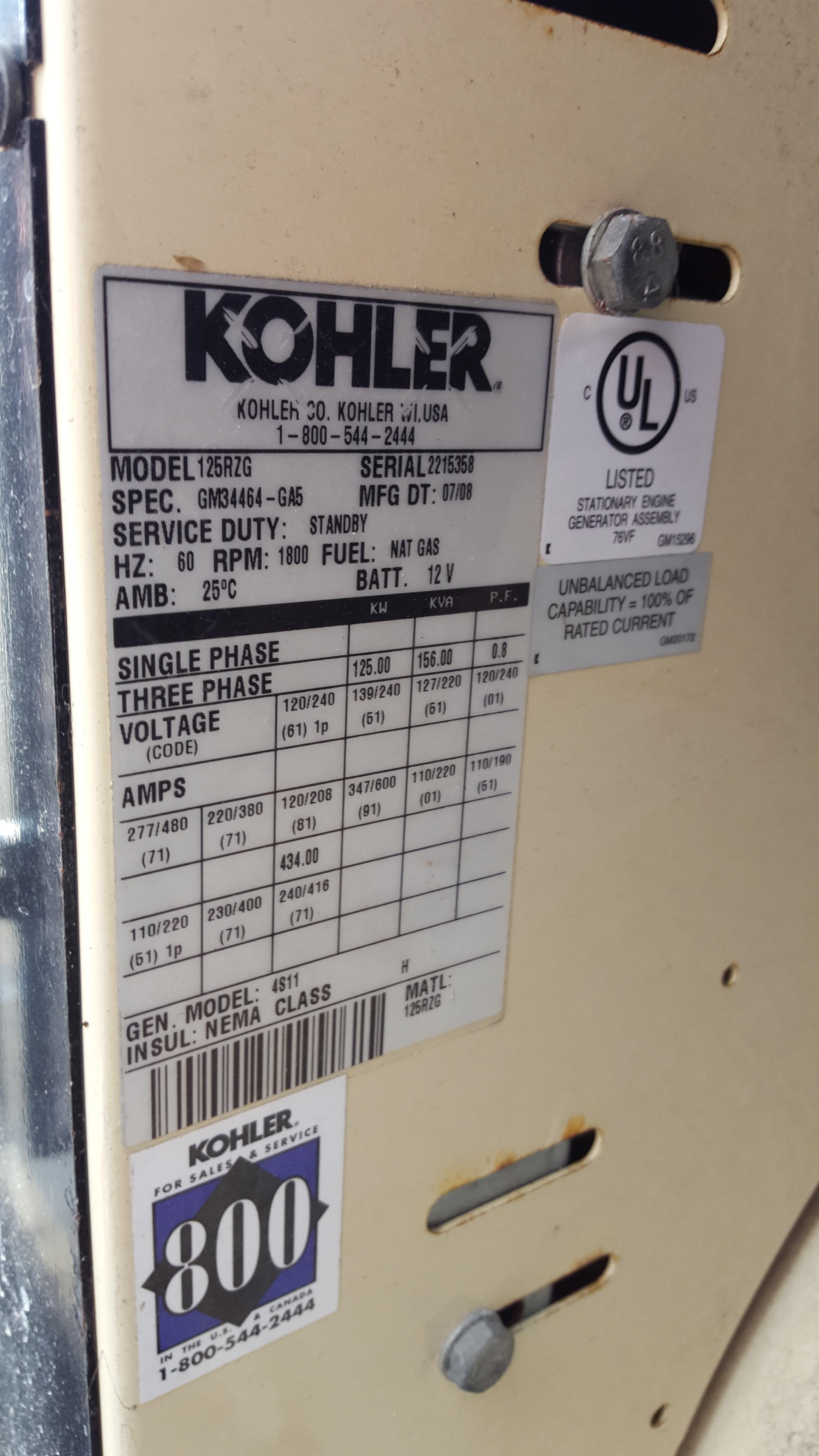 Kohler 125RZG 125 KW Diesel Engine & Generator | 13021 | New