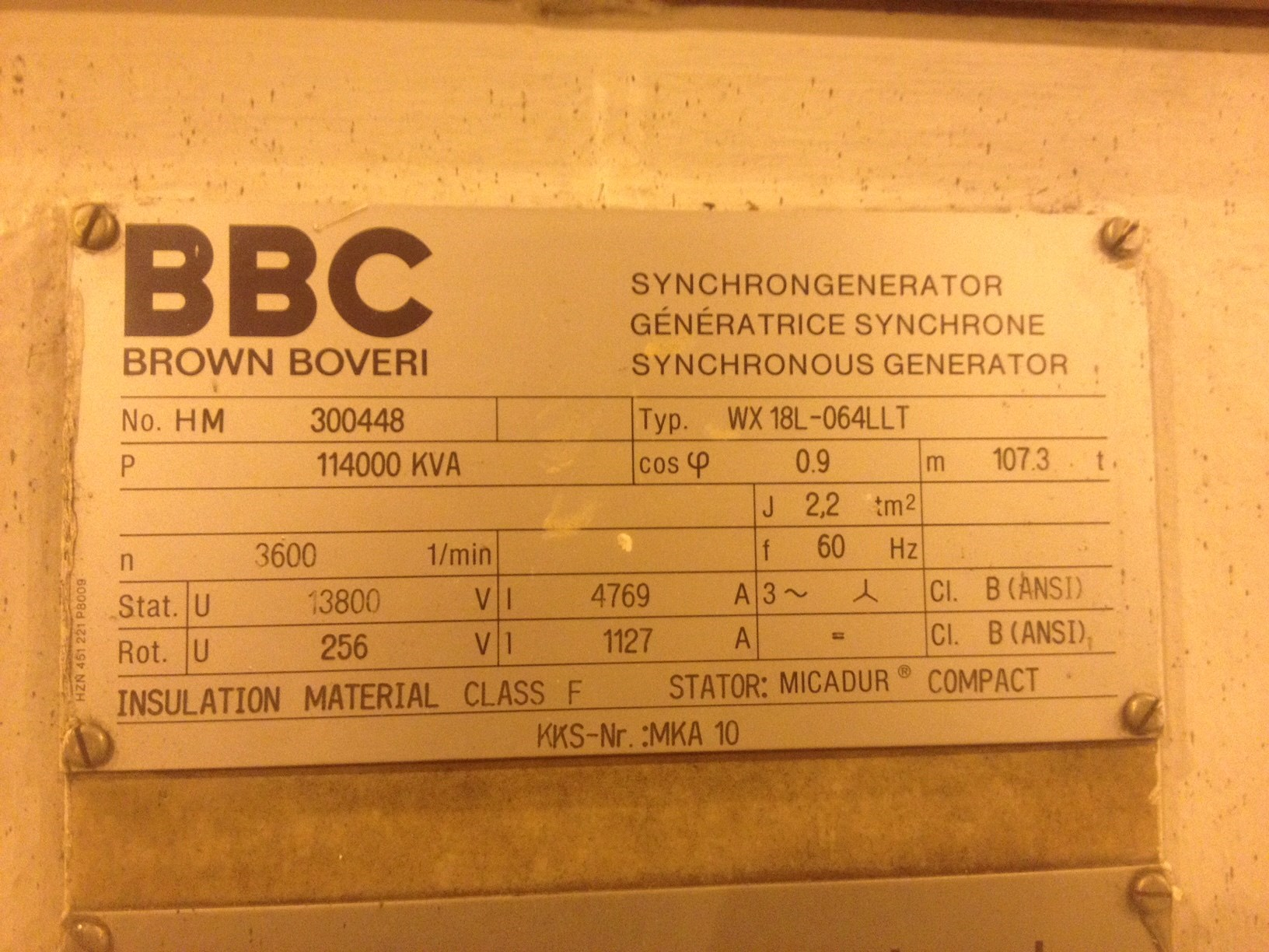 bbc steam turbine generator 113mw 2884